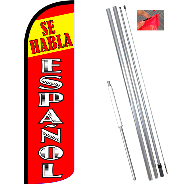 Se Habla Espanol Windless Feather Banner Flag Kit (Flag, Pole, & Ground Mt)