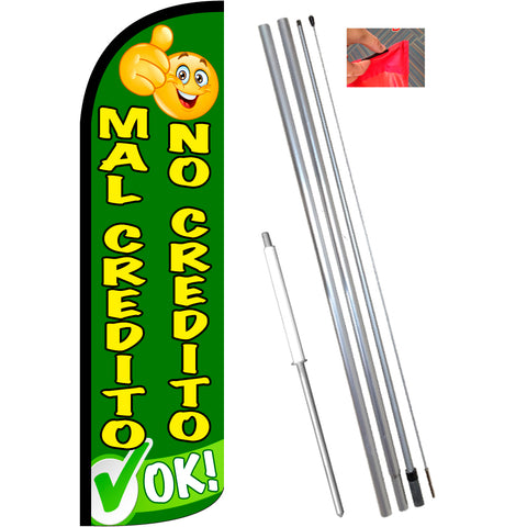 Mal Credito No Credito OK Windless Feather Banner Flag Kit (Flag, Pole, & Ground Mt)