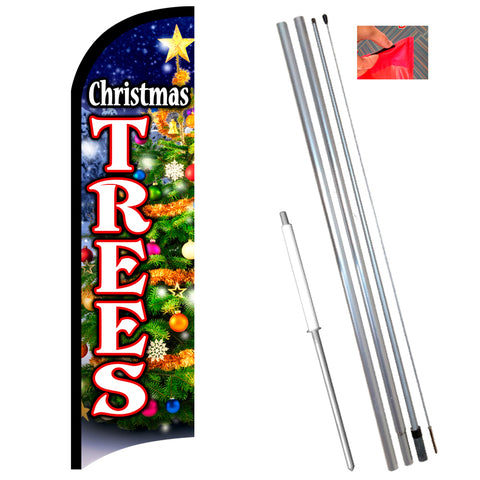 Christmas Trees Premium Windless-Style Feather Flag Bundle 14' OR Replacement Flag Only 11.5'