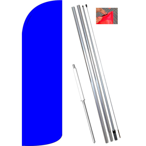 Solid Blue Windless Feather Banner Flag Kit (Flag, Pole, & Ground Mt)