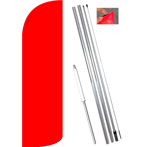 Solid Red Windless Feather Banner Flag Kit (Flag, Pole, & Ground Mt)