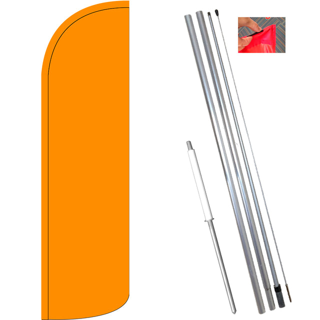 Solid Orange Windless Feather Banner Flag Kit (Flag, Pole, & Ground Mt)