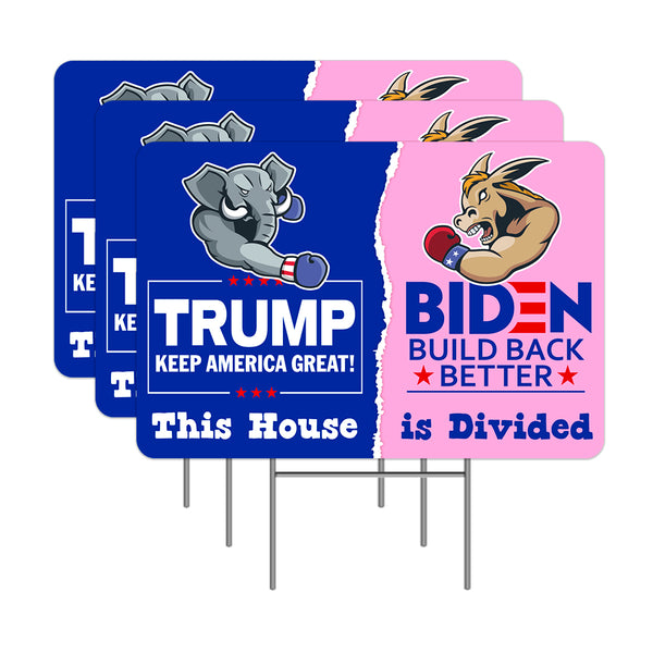 "Trump Biden This House Is Divided 3 Pack Yard Sign - Each is 24"" x 16"" (with Metal Stake) One Side Print - Made in the USA"