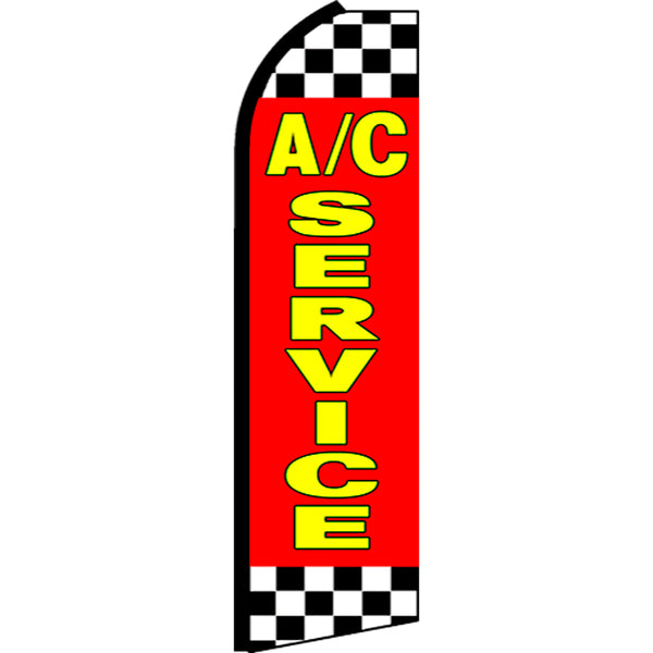 A/C Service (Red/Checkered) Flutter Feather Banner Flag with Bundle Option (3 x 11.5 Feet)