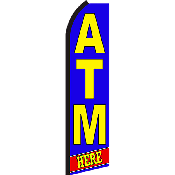 ATM Here Flutter Feather Banner Flag with Bundle Option (3 x 11.5 Feet)
