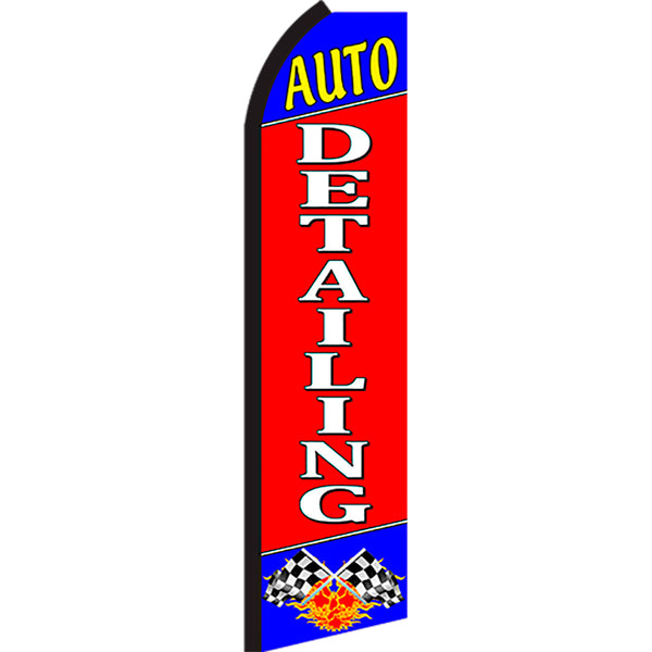 Auto Detailing Flutter Feather Banner Flag with Bundle Option (3 x 11.5 Feet)