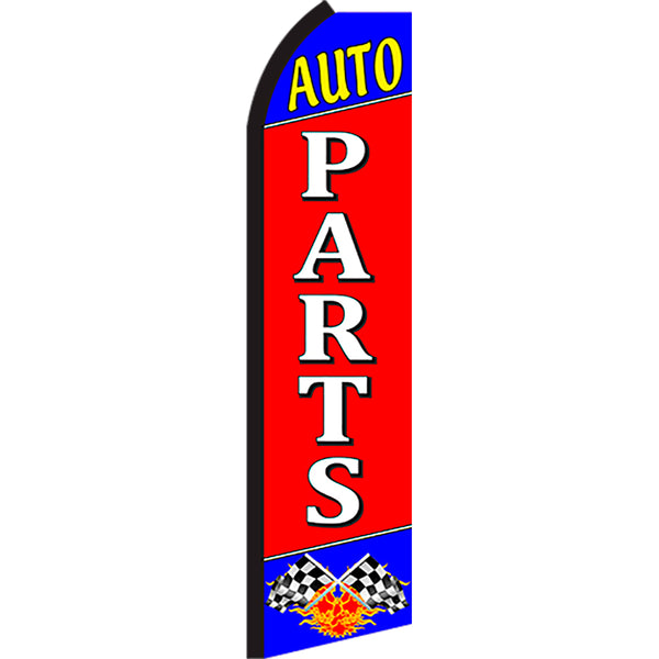 Auto Parts Flutter Feather Banner Flag with Bundle Option (2.5 x 11.5 Feet)