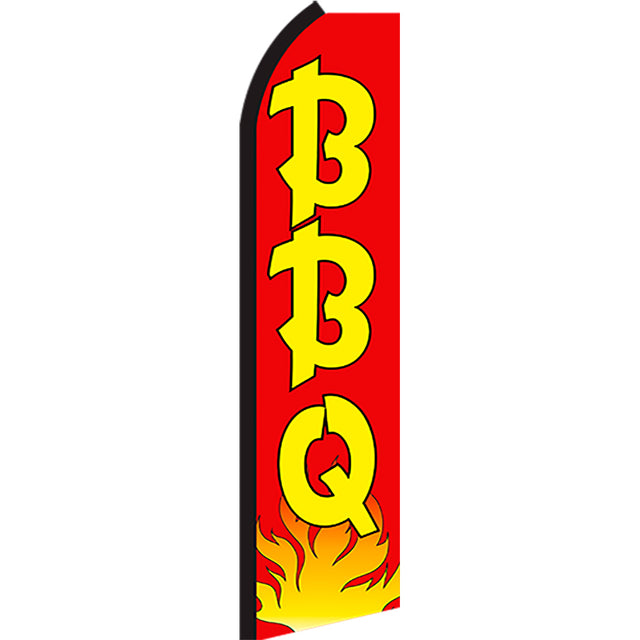 BBQ (Red/Yellow/Flames) Flutter Feather Banner Flag with Bundle Option (2.5 x 11.5 Feet)
