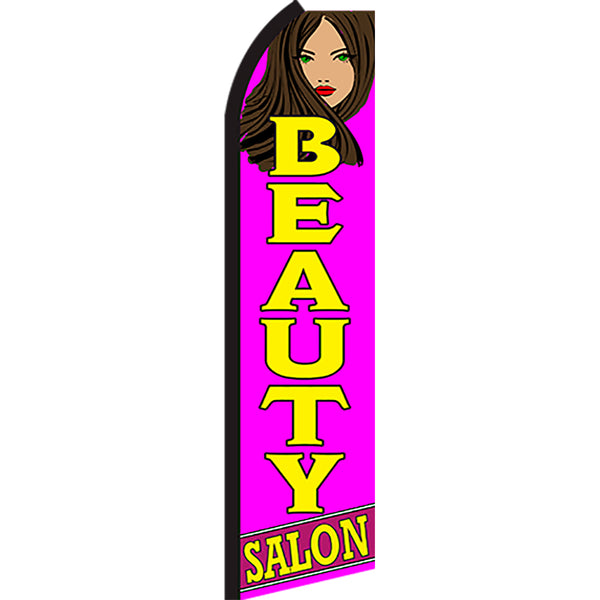 Beauty Salon Flutter Feather Banner Flag with Bundle Option (3 x 11.5 Feet)