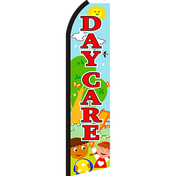 Daycare (Scene) Flutter Feather Banner Flag with Bundle Option (3 x 11.5 Feet)
