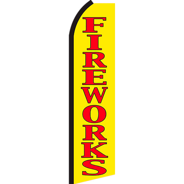 Fireworks Flutter Feather Banner Flag with Bundle Option (3 x 11.5 Feet)
