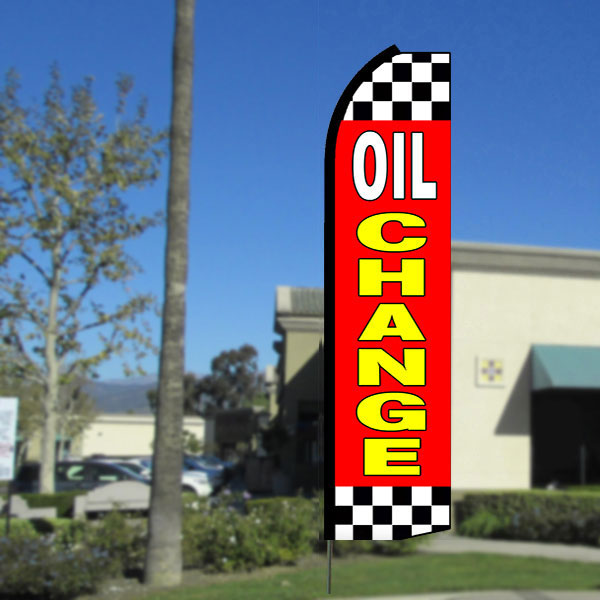 Oil Change (Red/Checkered) Flutter Feather Banner Flag with Bundle Option (3 x 11.5 Feet)