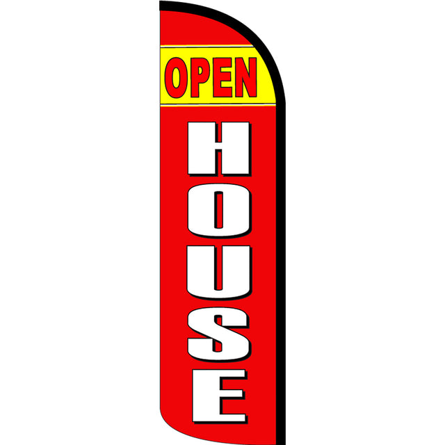 Open House Windless Feather Banner Flag with Bundle Option (3 x 11.5 Feet)