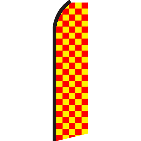 Checkered Red/Yellow Flutter Feather Banner Flag with Bundle Option (2.5 x 11.5 Feet)