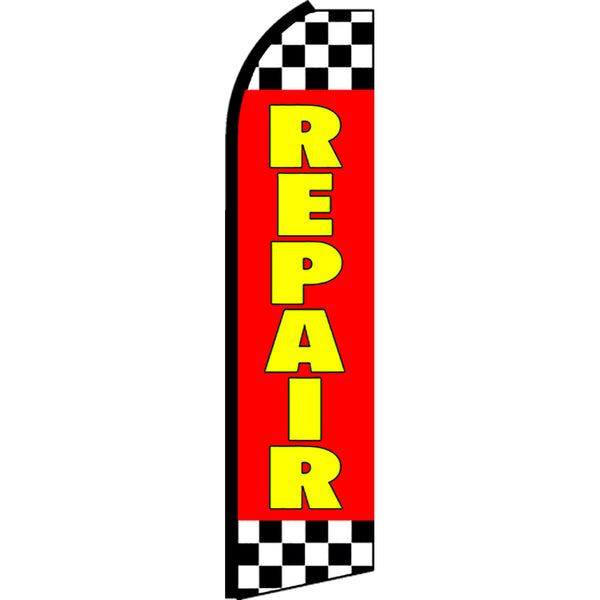Repair (Red/Checkered) Flutter Feather Banner Flag with Bundle Option (2.5 x 11.5 Feet)