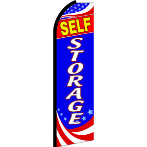 Self Storage (Patriotic) Flutter Feather Banner Flag with Bundle Option (3 x 11.5 Feet)