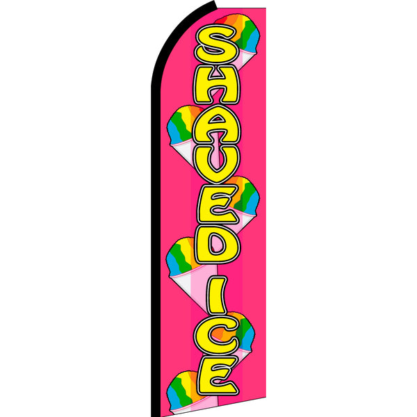 Shaved Ice Flutter Feather Banner Flag with Bundle Option (3 x 11.5 Feet)
