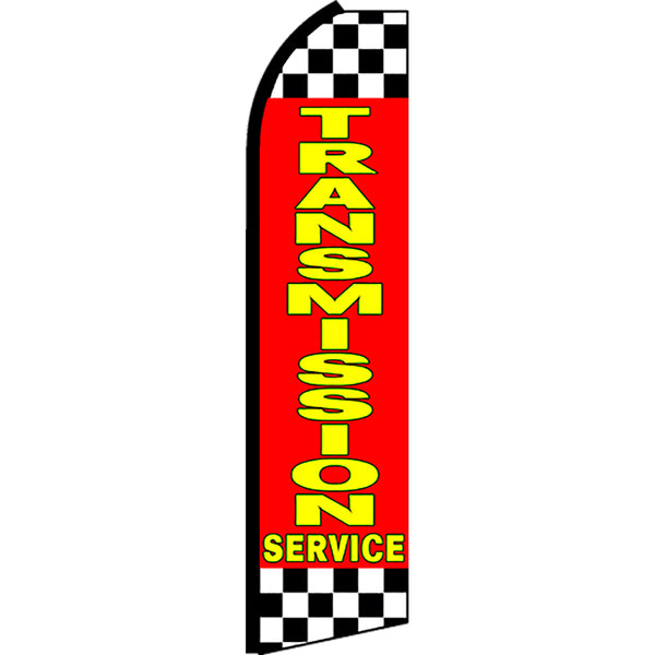 Transmission Service (Red/Checkered) Flutter Feather Banner Flag with Bundle Option (2.5 x 11.5 Feet)