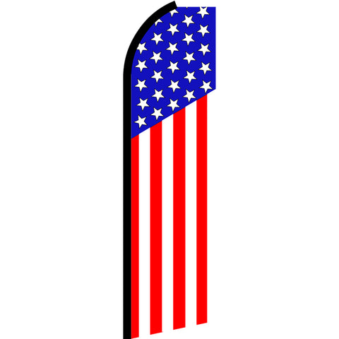 USA American (Vertical Classic) Flutter Feather Banner Flag with Bundle Option (3 x 11.5 Feet)