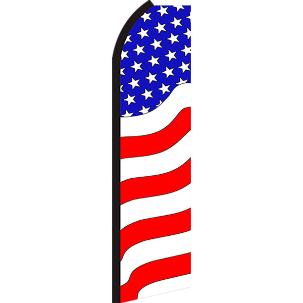 Patriotic (Waves) Flutter Feather Banner Flag with Bundle Option (3 x 11.5 Feet)