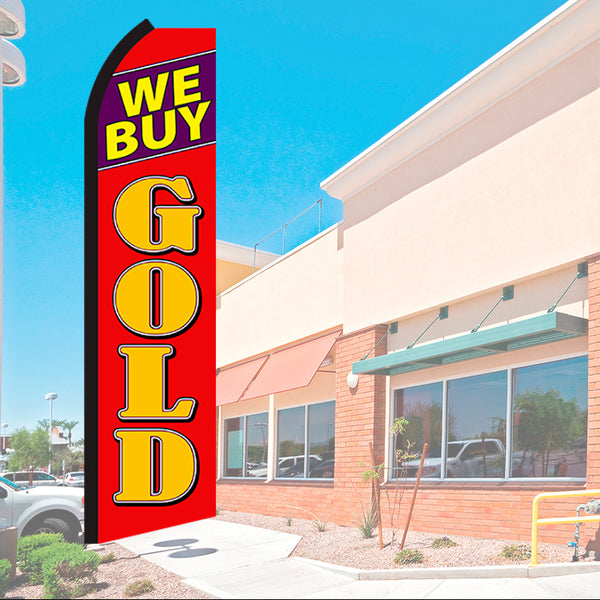 We Buy Gold Flutter Feather Banner Flag with Bundle Option (2.5 x 11.5 Feet)