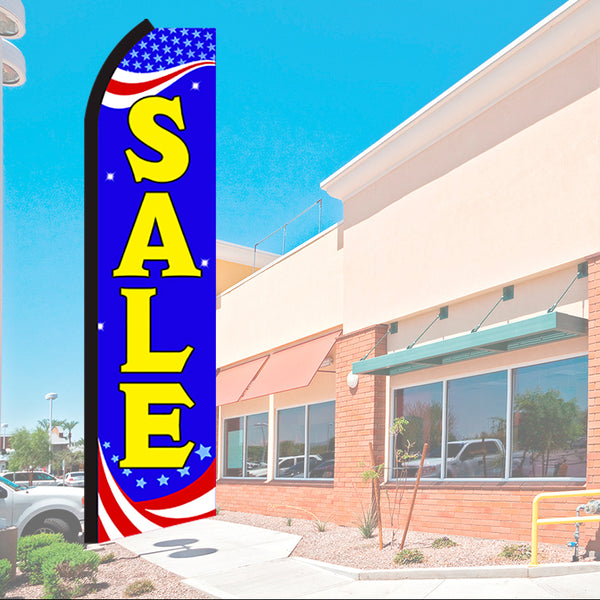 Sale (Patriotic) Flutter Feather Banner Flag with Bundle Option (2.5 x 11.5 Feet)