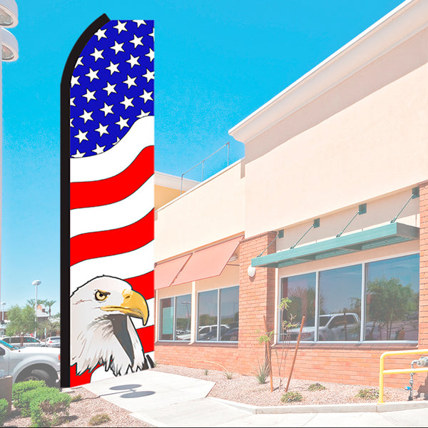 USA American Patriotic (Eagle) Flutter Feather Banner Flag with Bundle Option (2.5 x 11.5 Feet)