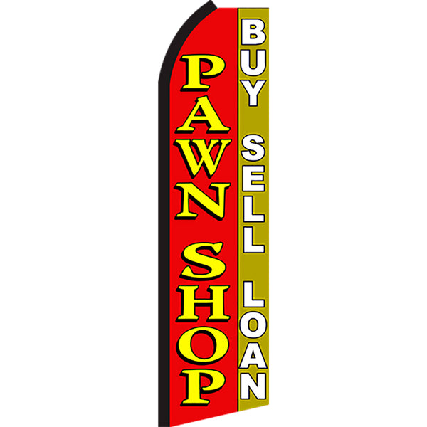Pawn Shop Buy Sell Loan Flutter Feather Banner Flag with Bundle Option (2.5 x 11.5 Feet)