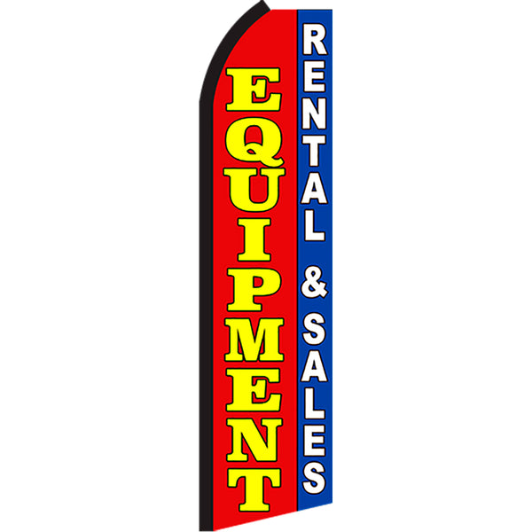 Equipment Rental & Sales Flutter Feather Banner Flag with Bundle Option (2.5 x 11.5 Feet)