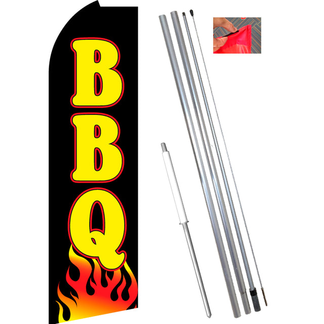 BBQ (Black/Yellow/Flames) Flutter Feather Banner Flag Kit (Flag, Pole, & Ground Mt)