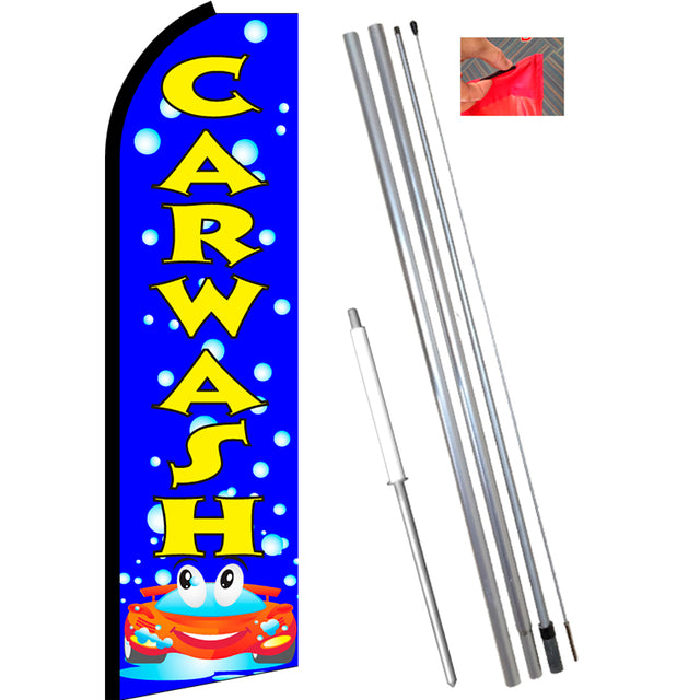 CAR WASH (Blue/Yellow) Flutter Feather Banner Flag Kit (Flag, Pole, & Ground Mt)