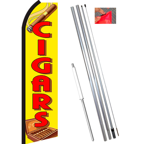 CIGARS (Yellow/Red) Flutter Feather Banner Flag Kit (Flag, Pole, & Ground Mt)