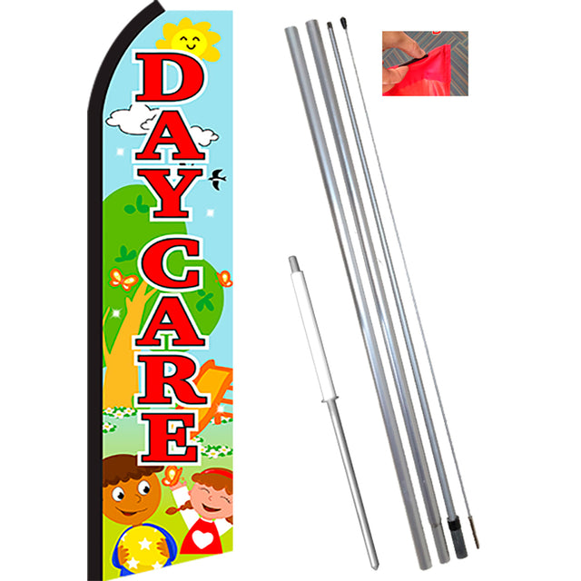 DAYCARE (Scene) Flutter Feather Banner Flag Kit (Flag, Pole, & Ground Mt)