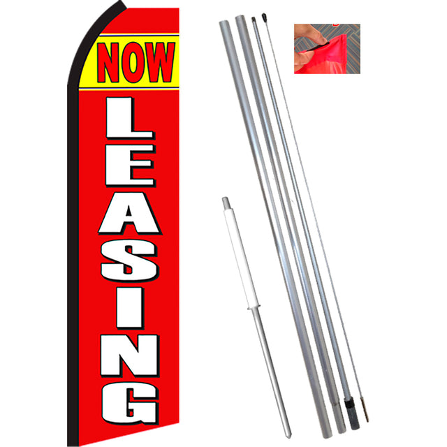 NOW LEASING (Yellow/Red) Flutter Feather Banner Flag Kit (Flag, Pole, & Ground Mt)