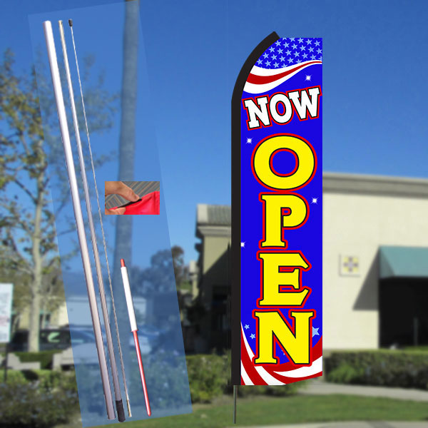 NOW OPEN (Patriotic) Flutter Feather Banner Flag Kit (Flag, Pole, & Ground Mt)