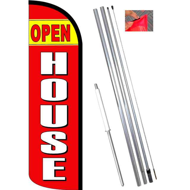 OPEN HOUSE (Yellow/Red) Windless Feather Banner Flag Kit (Flag, Pole, & Ground Mt)