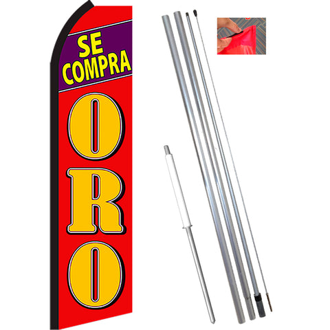 SE COMPRA ORO (Red/Yellow) Flutter Feather Banner Flag Kit (Flag, Pole, & Ground Mt)