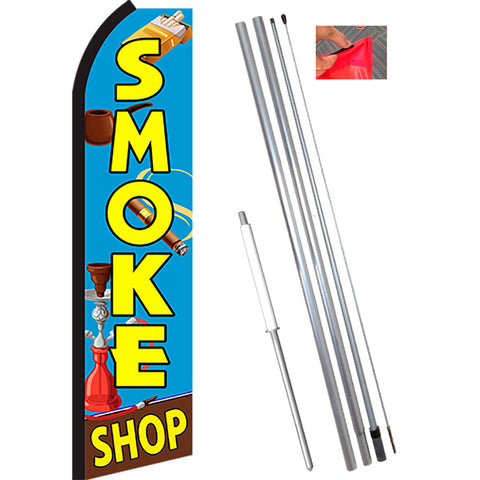 SMOKE SHOP (Blue/Yellow) Flutter Feather Banner Flag Kit (Flag, Pole, & Ground Mt)