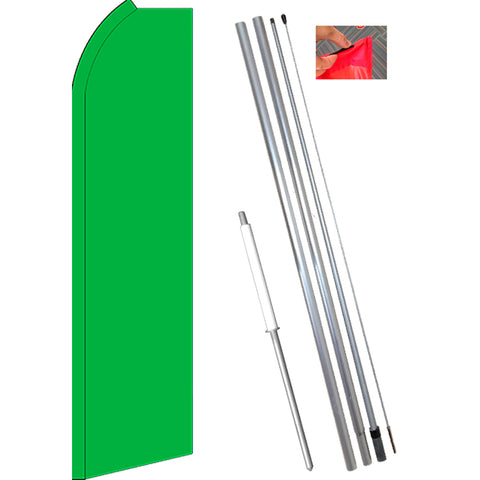 Solid GREEN Flutter Feather Banner Flag Kit (Flag, Pole, & Ground Mt)