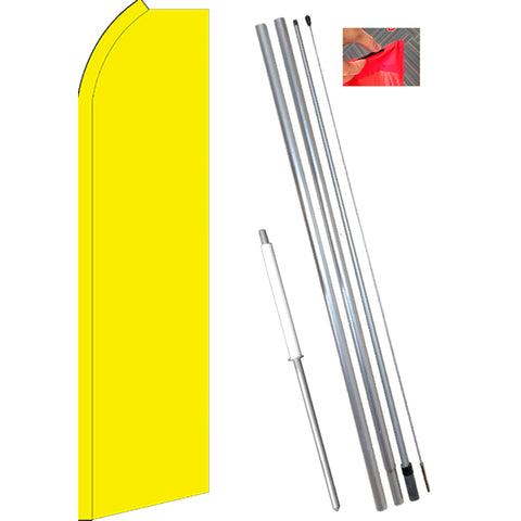 Solid YELLOW Flutter Feather Banner Flag Kit (Flag, Pole, & Ground Mt)