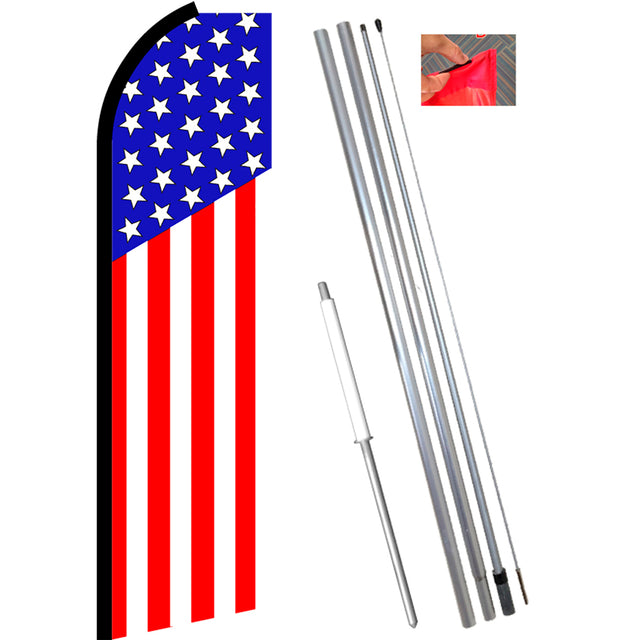 USA American (Vertical Classic) Flutter Feather Banner Flag Kit (Flag, Pole, & Ground Mt)