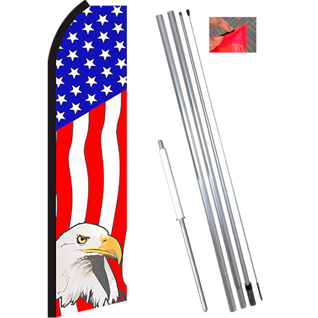 USA AMERICAN EAGLE Flutter Feather Banner Flag Kit (Flag, Pole, & Ground Mt)