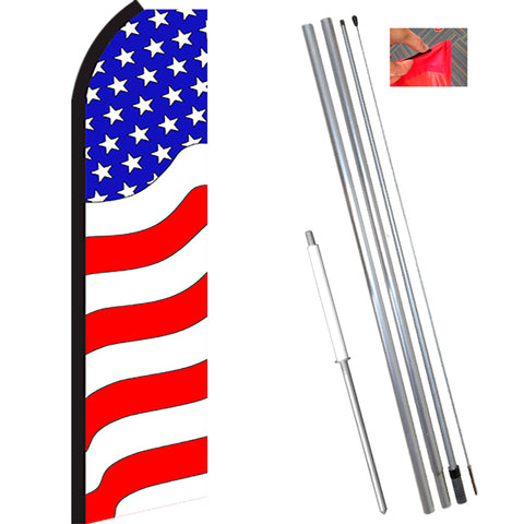 PATRIOTIC (Waves) Flutter Feather Banner Flag Kit (Flag, Pole, & Ground Mt)