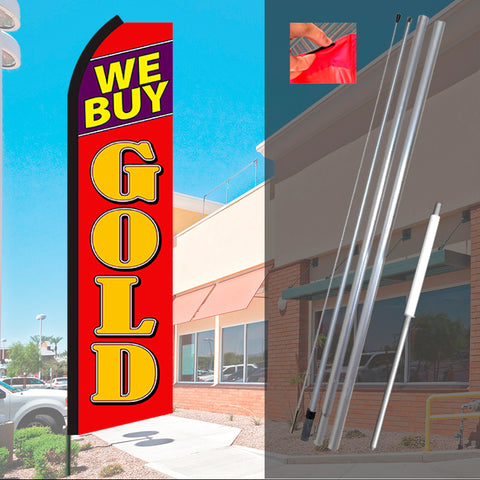WE BUY GOLD (Black/Red) Flutter Feather Banner Flag Kit (Flag, Pole, & Ground Mt)