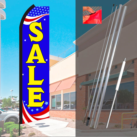 SALE (Patriotic) Flutter Feather Banner Flag Kit (Flag, Pole, & Ground Mt)