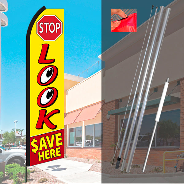 Swooper Flag Advertising Flag Feather Flag Super Flag Look Here! Red Look