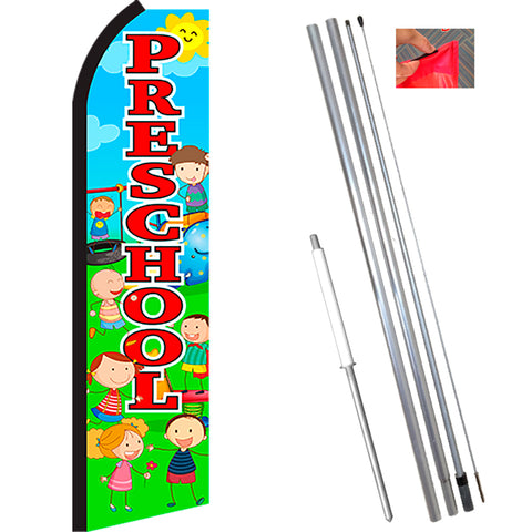 PRESCHOOL (Scene/Red) Flutter Feather Banner Flag Kit (Flag, Pole, & Ground Mt)
