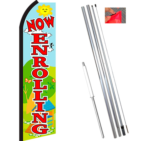NOW ENROLLING (Scene/Red) Flutter Feather Banner Flag Kit (Flag, Pole, & Ground Mt)