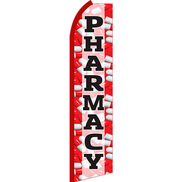 Pharmacy Flutter Feather Banner Flag with Bundle Option (2.5 x 11.5 Feet)