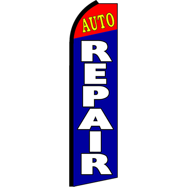 Auto Repair Flutter Feather Banner Flag with Bundle Option (2.5 x 11.5 Feet)